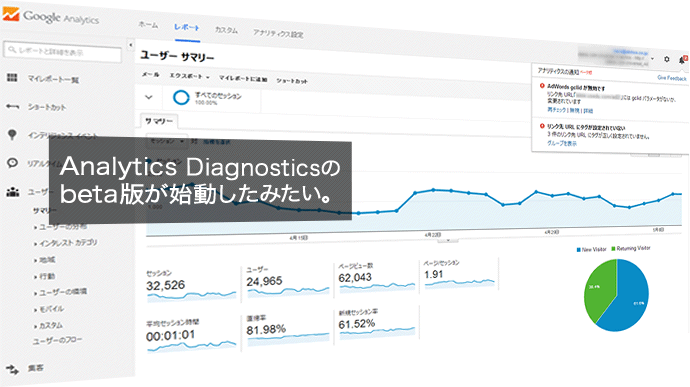 Analytics Diagnosticsのbeta版が始動したみたい。